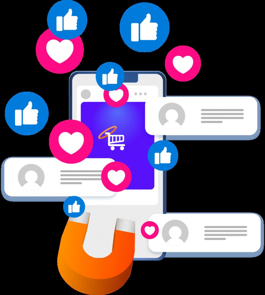 Imán de redes likes en redes sociales